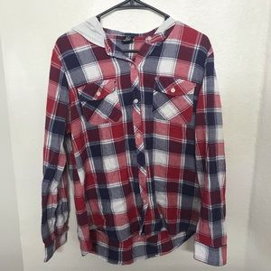Flannel Hoodie Red White Blue Button Down Shirt